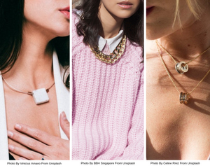 Women wearing a necklace
