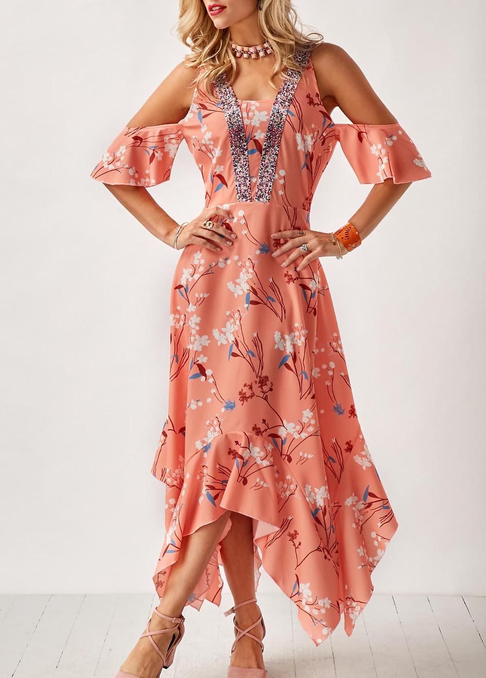 Woman Wearing Printed Asymmetric Hem Cold Shoulder Pastel Orange Dress From Roswe