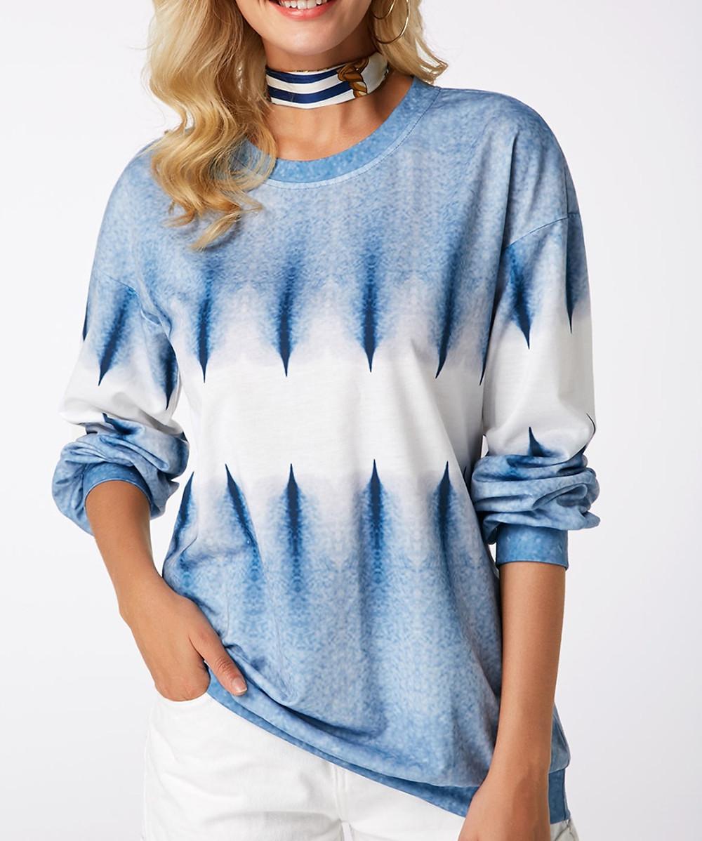 Printed Long Sleeve Round Neck Blue Sweatshirt