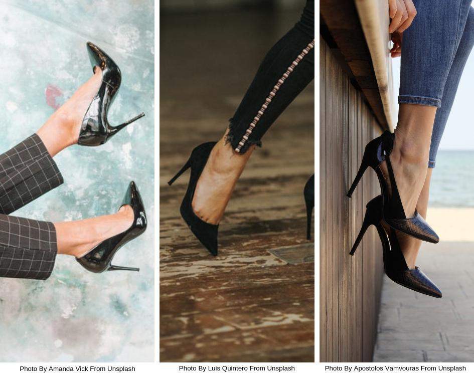 Women wearing black high heel pointed toe pumps