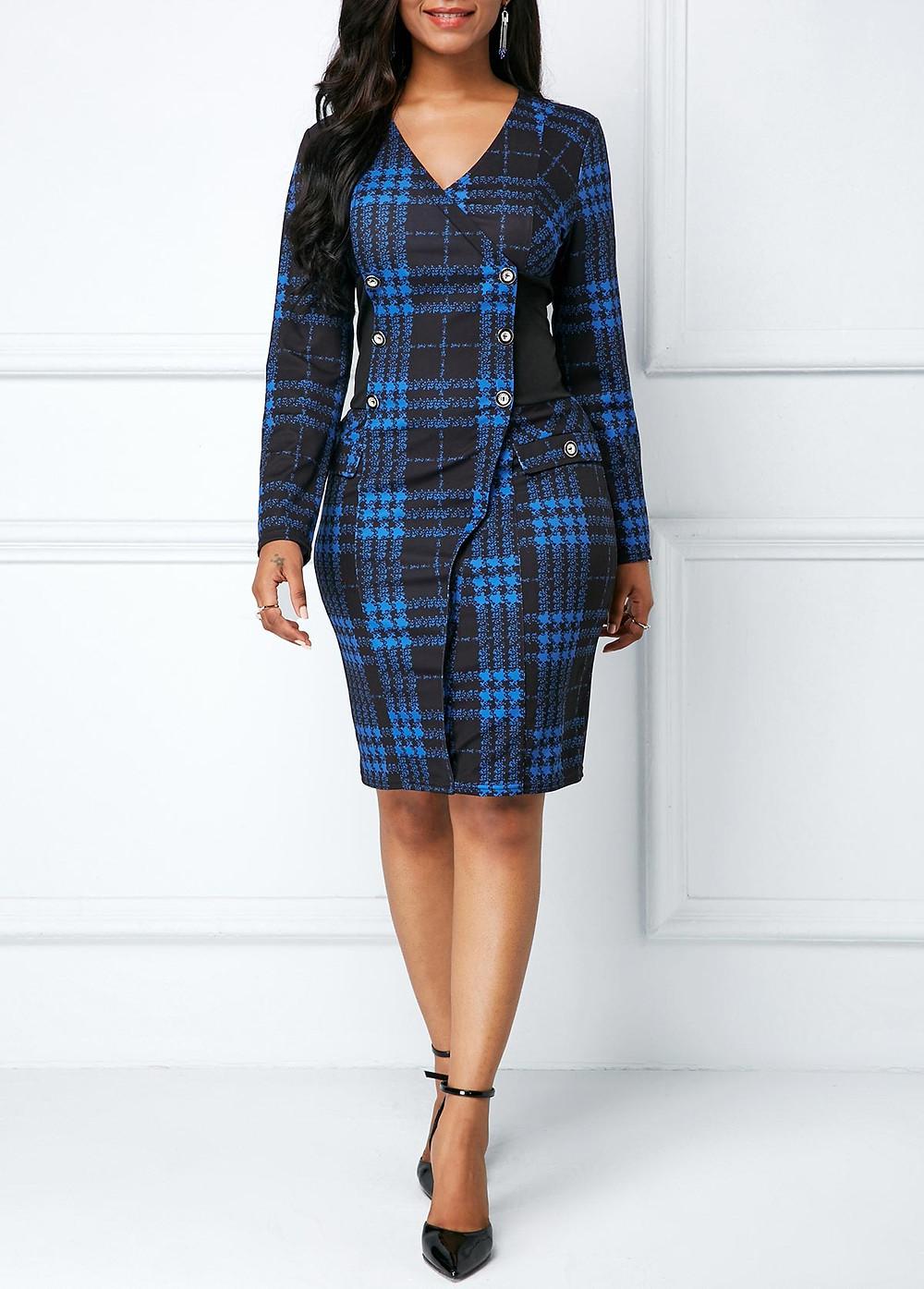 long-sleeve-printed-button-detail-sheath-dress