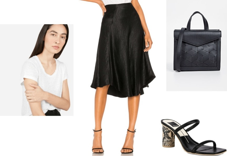Outfit Idea: Black Flare Skirt, White Tee With Sandals and small flap satchel bag
