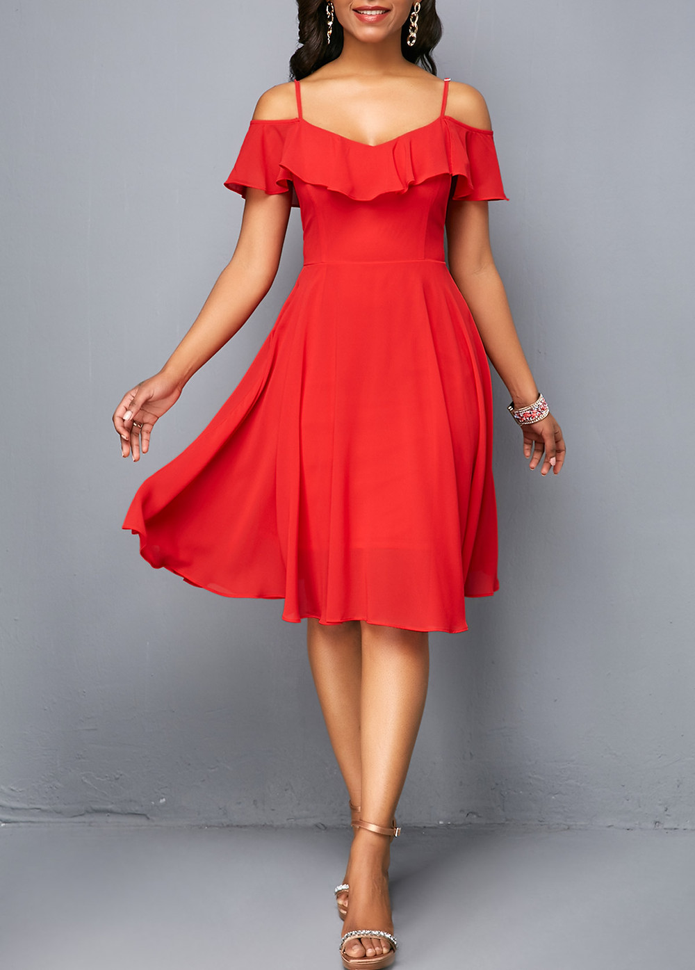 Woman wearing  a red from Rosewe