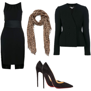 Collage with black dress, leopard print scarf, black blazer, and a                     pair of black pumps