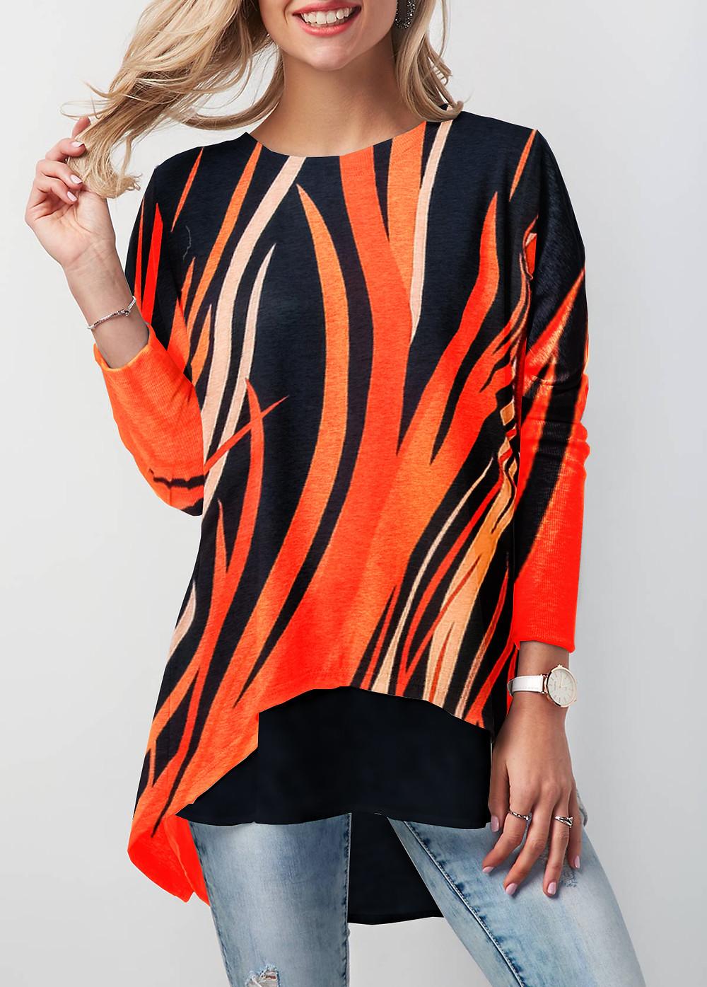 Woman wearing a long sleeve printed shirt