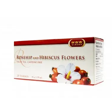 3 crown rosehip and hibiscus flowers - 20 teabags