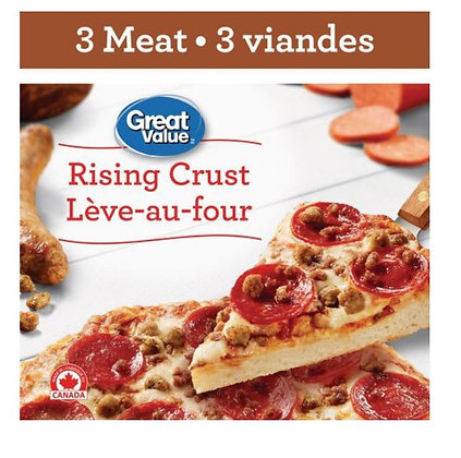 Great Value Rising Crust 3 Meat Pizza