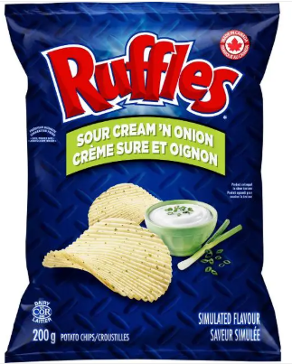 Ruffles Sour Cream 'n Onion Potato Chips 200G