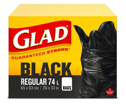 Glad black regular garbage bag (74L) - 10pc