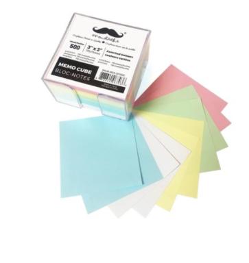 Colored Memo Paper Cube, 75 x 75 x 50mm, 5 Colors