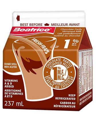 Beatrice Chocolate Partly Skimmed Milk 237ml