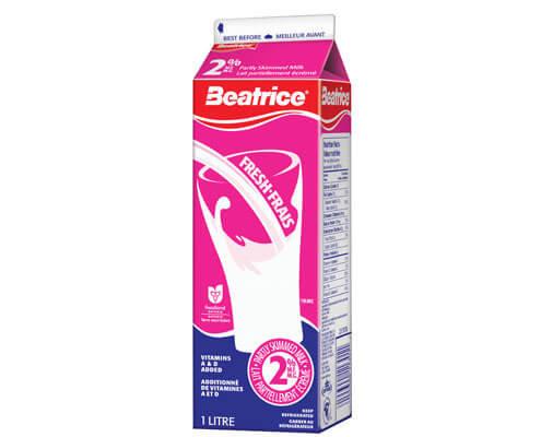 Beatrice 2% Partly Skimmed Milk 1L