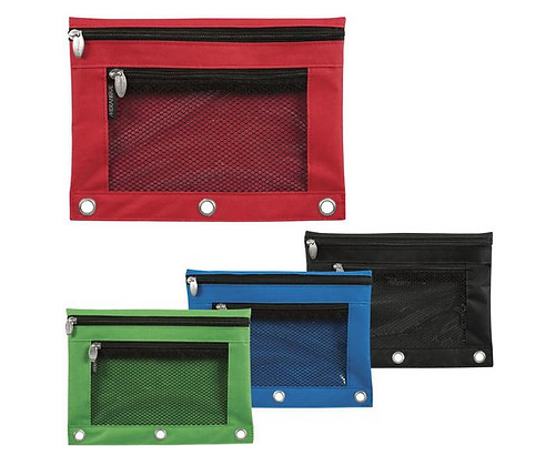 Exterior Mesh Pocket 3 Ring Pouch, 4 Pack