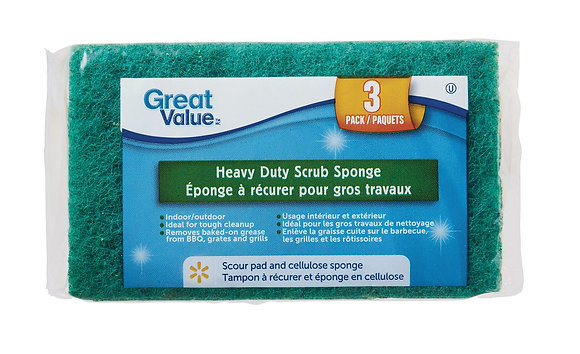Great Value Heavy Duty Scrub Sponge, 3 Pk