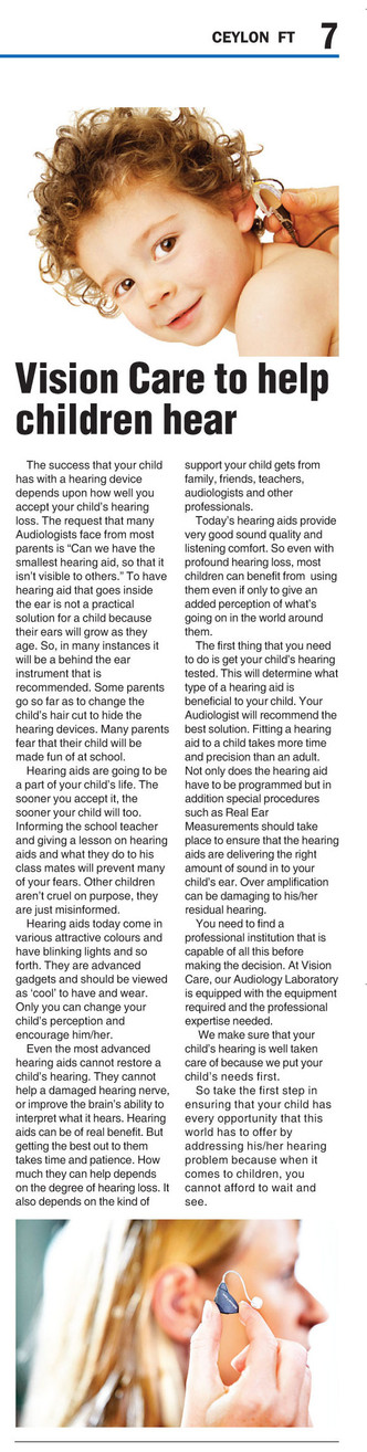Vision Care helps children to hear
