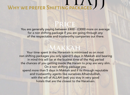 HAJJ - WHY SHOULD YOU CHOOSE SHIFTING PACKAGES