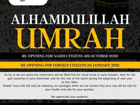 UMRAH UPDATE SEPT 2020
