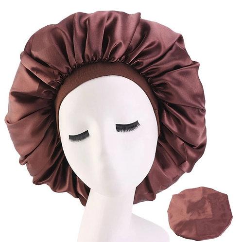 Satin Night Sleep Cap Hair Bonnet Brown