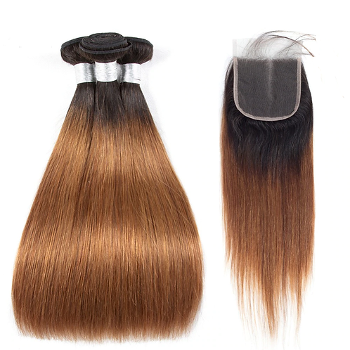 Peruvian Straight Hair 3 Bundles With Closure Ombre Remy Hair Weave