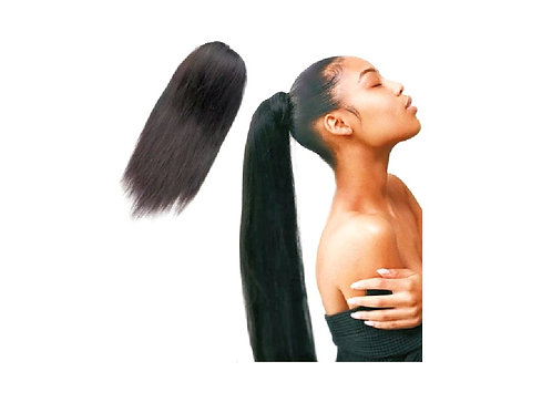 Ponytail Wrapping Cuticle Aligned Grade 10A++ Virgin Human Hair Straight