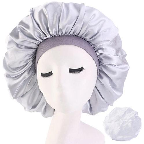 Satin Night Sleep Cap Hair Bonnet Silver