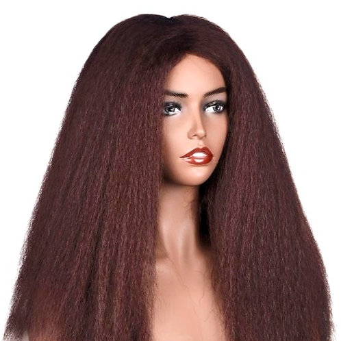 Kinky Straight  Middle Part Lace 150% Density Synthetic Wig Heat Resistant Fiber