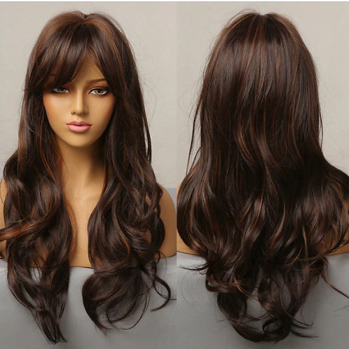 Long Wavy Synthetic Wigs with Side Bangs