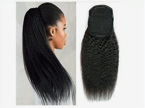 Ponytail Drawstring Cuticle Aligned Grade 10A++ Virgin Human Hair Kinky Straight