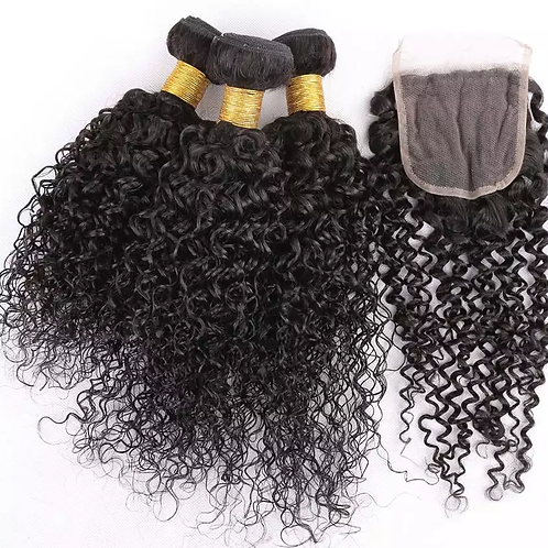 """10A Virgin Cuticle Aligned 3x16"""" Bundles & 14"""" Closure 4*4  Jerry Curly Weave"""