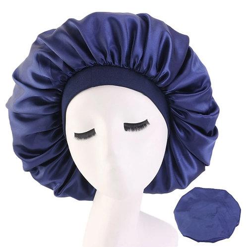 Satin Night Sleep Cap Hair Bonnet Navy Blue