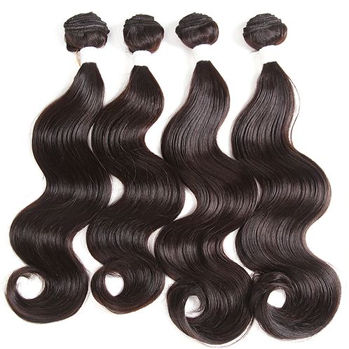 Body Wave Synthetic Hair 4 Bundles Weave High Temperature Fiber