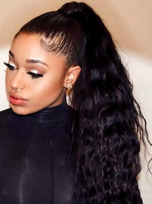Ponytail Wrapping Cuticle Aligned Grade 10A++Virgin Human Hair Natural Wave