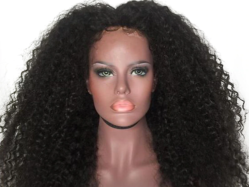 Afro Kinky Curly Synthetic Lace Front 180% Density Wig Heat Resistant Fiber