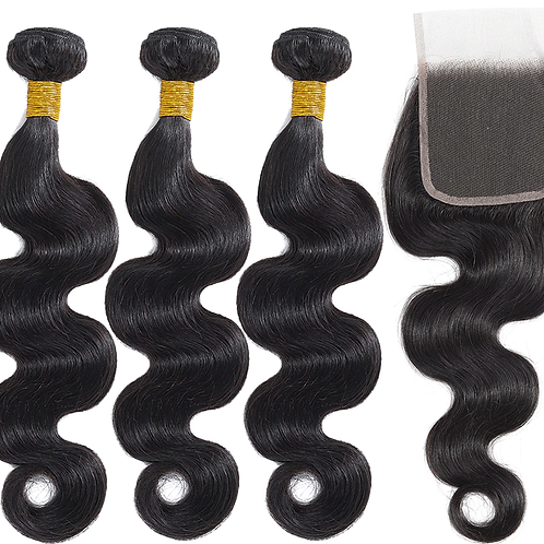 "10A Virgin Cuticle Aligned 3x18"" Bundles & 16"" Closure 4*4  Body Wave Human Hair"