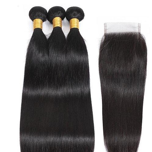 "10A Virgin Cuticle Aligned 3x22"" Bundles & 20"" Closure 4*4  Straight Human Hair"