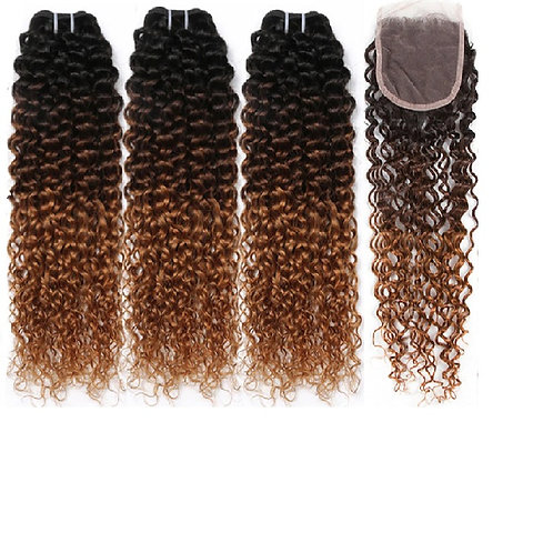 Peruvian Afro Kinky Curly Hair 3 Bundles With Closure Ombre Remy Hair Weave