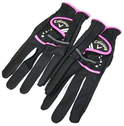 Callaway Golf Japan Exclusive Nail Dual Women's Golf Gloves, Black-Pink