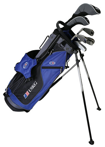 US Kids UL60 7-Club DV2 Stand Bag Set, Right Hand, Blue/Black/Grey