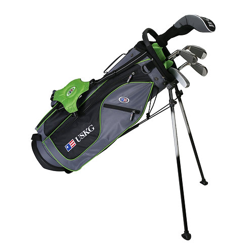 US Kids UL57 6-Club DV2 Stand Bag Set, Right Hand, Grey/Green