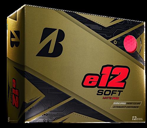 Bridgestone e12 Soft Golf Balls, Pack of 12, Matte Red