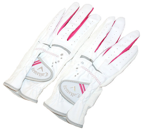 Callaway Golf Japan Exclusive Nail Dual Women's Golf Gloves, White-Pink