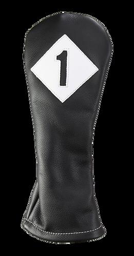 Iliac VINTAGE Leather Head Cover, Driver, Black-Pure White