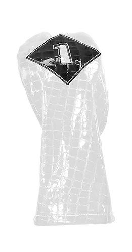 Iliac VINTAGE Leather Head Cover, Driver, Pure White Patent Croc - Black Croc