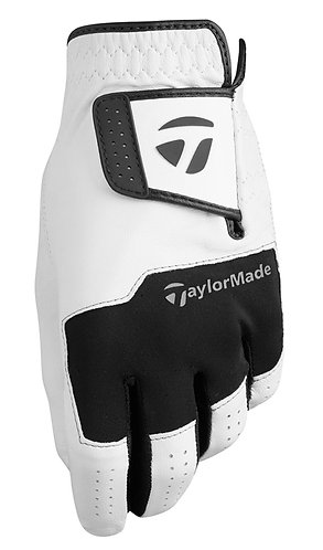 TaylorMade Stratus All Leather Golf Glove, Men's, Fit on Left Hand, White-Black
