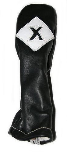 Iliac VINTAGE Leather Head Cover, Hybrid X, Black-Pure White-Iliac Script