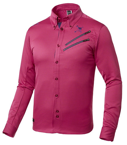 Oakley Japan Exclusive Skull Stripe Woven Long Sleeve Shirt, Men's, Cerise