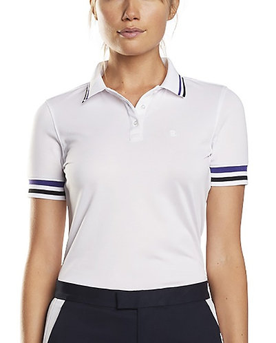 G/Fore Women's Striped Rib Short Sleeve Polo, Snow