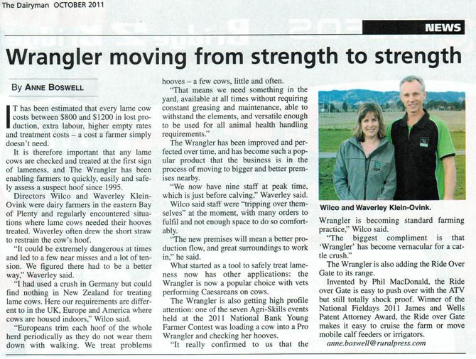 Wrangler moving from strength to strength