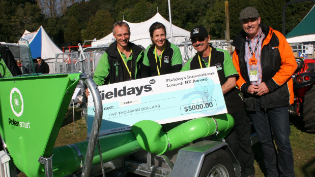 Pollensmart pollen-spreading machine from Whakatane-based The Wrangler was the winner of the Fieldays Launch NZ Innovation Award. From left Wilco and Waverley Klein-Ovink, inventor David Horwood and Fairfax Agrimedia Division manager Dean Williamson.