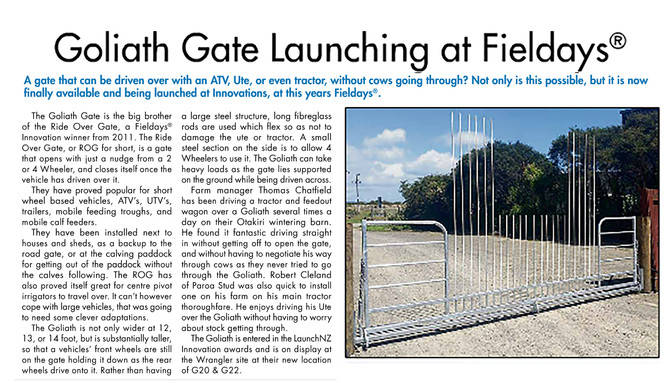 Goliath Gate Launching at Fieldays